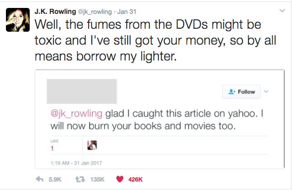 JK Rowling Stylishly Slays Trolls